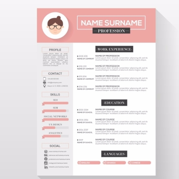 Elegant Resume Template Vector Free Download throughout 79 Enchanting Resume Templates Free Download